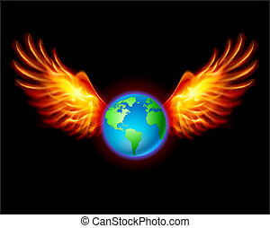 Planet the Earth with fiery wings, a color illustration on a...