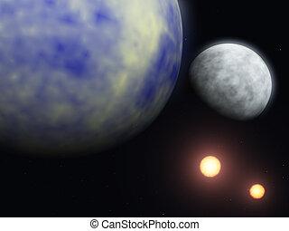 planet, und, kosmos