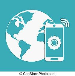 planet, und, smartphone., internet, von, sachen, design., vektorgrafik