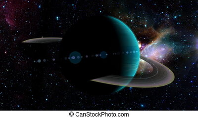 A silhouette of planet Uranus and its rings, with the sun behind it, then orbiting around to reveal the bright side of Uranus. Includes a glowing atmosphere, lens flare on the sun, and star background. See my portfolio for more quality space animations. Texture maps and space images courtesy of NASA...