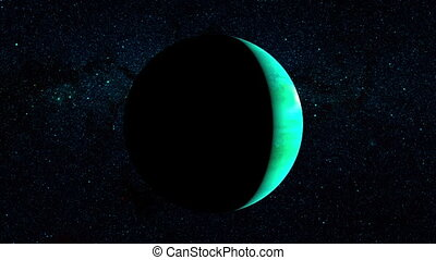 Planet Uranus on a beautiful starry background, orbiting...