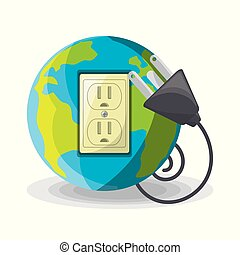 planet use alternative energy for save the world, vector...