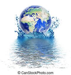 planet värld, droppe, vatten, lik