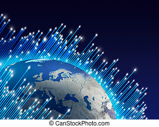 planet värld, fiberoptik, omkring