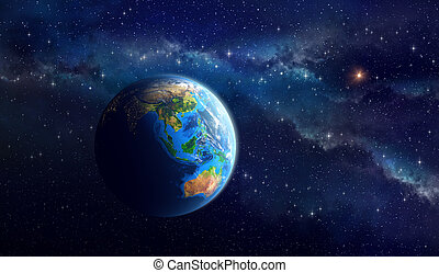 planet värld, in, djup, utrymme