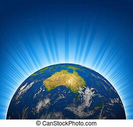 planet värld, klot, australien, synhåll