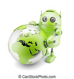 planet värld, robot, holdingen