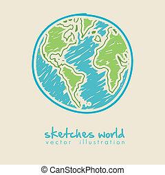 planet värld, skiss, illustration