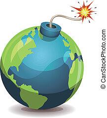 planet värld, varning, bomb