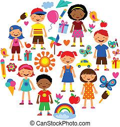 planet, vektor, børn, illustration, farverig
