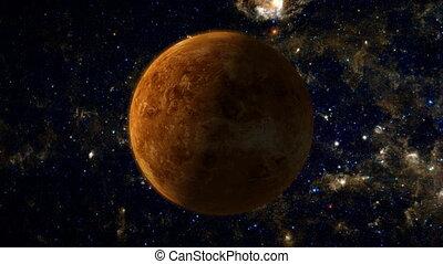 Planet Venus - An orbiting shot of planet Venus in space,...