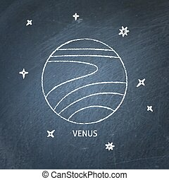 Planet Venus icon on chalkboard