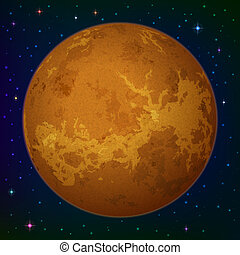 Planet Venus in space - Space background, realistic planet...