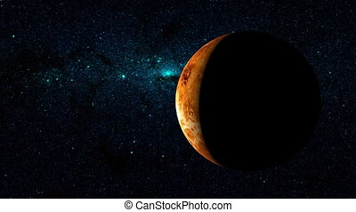 Planet Venus on a beautiful starry background, orbiting...