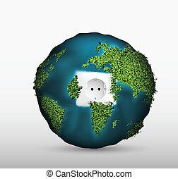 planet., vert, douille