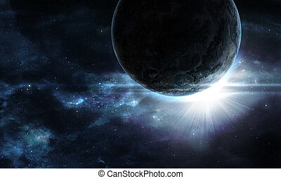 planet with a flash of sun