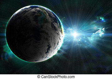 planet with a flash of sun, abstract background
