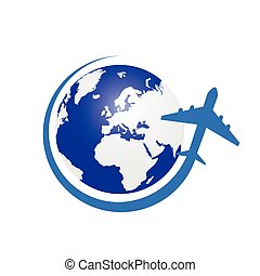 planet with airplane color vector in blue