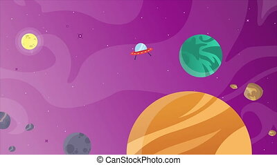 Planet with cartoon object in space