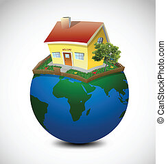 Planet with house and garden. Vector Illustration
