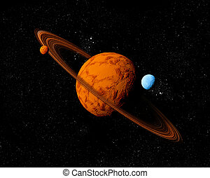 Planet with ring and moons. Abstract background of deep space. In the far future travel. New technologies and resources.