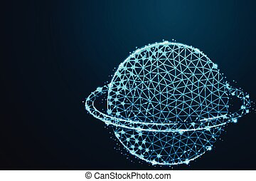 planet with ring, wireframe line concept with crumbled edge on blue night sky with dots, stars and looks like constellation, illustration