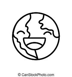 planet, zeichen, erde, linie, welt, stil, lächeln