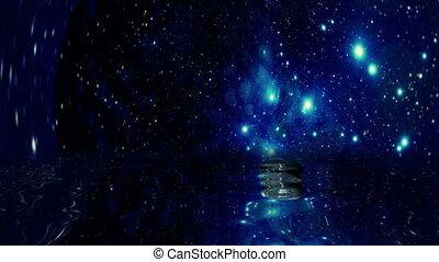 planet, zurückwerfend, sternen, wasser, erde