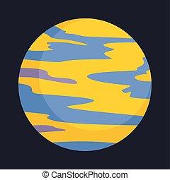 planeta, ícone, estilo, amarela, apartamento