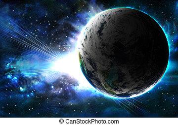 planeta, abstrakcyjny, błysk, słońce, tło