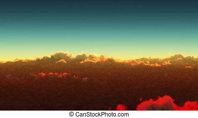 planeta, amanhecer, acima, nuvens