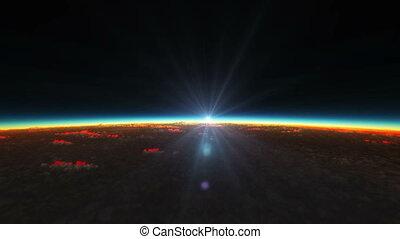 planeta, amanhecer, de, espaço