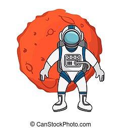 planeta, astronauta, sistema, solar