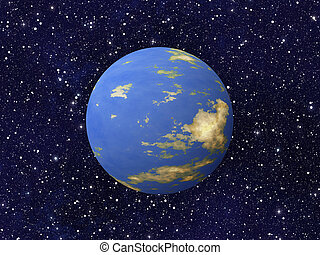 planeta azul, cosmos, fundos, estrelas