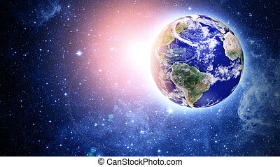 planeta azul, en, hermoso, espacio