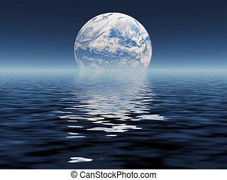 planeta azul, vistos, distancia