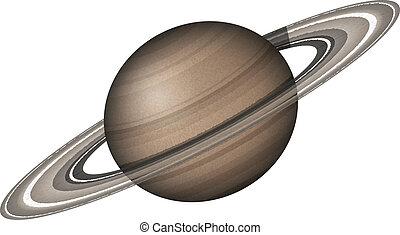 planeta, blanco, saturno, aislado