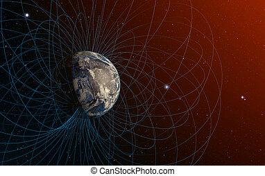 planeta, campo, magnético, earth's