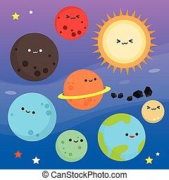planeta, caricatura, corte arte