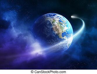 planeta, cometa, passagem, em movimento, terra
