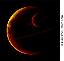 planeta, con, anillos, de, el, cosmos., vector