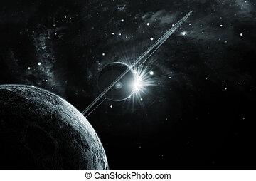 planeta, con, anillos