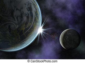 planeta, con, luna