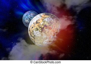 planeta, con, luna, en, un, libre, espacio