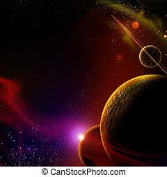 planeta, con, salida del sol