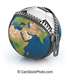 planeta, concepto, fútbol, 3d