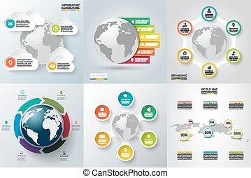 planeta, conjunto, earth., vector, infographics