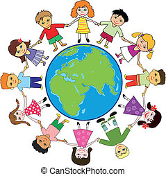 planeta, crianças, ao redor