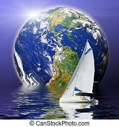 planeta, deporte, yate, deslizamiento