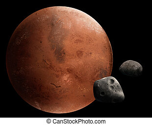 planeta, digital, quadro, vermelho, marte